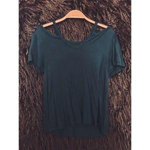 Green cold-shoulder flowy top